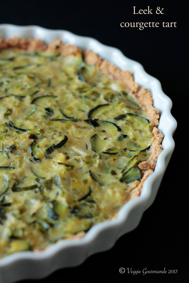 Leek and courgette tart